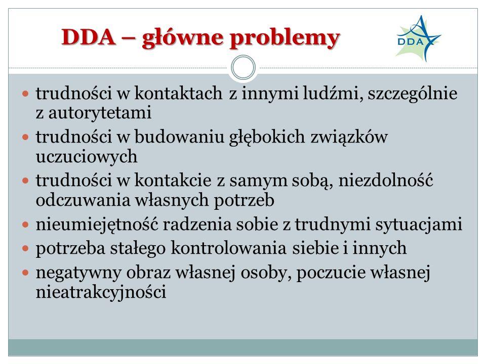 DDA – główne problemy trudności w kontaktach z innymi ludźmi, szczególnie z autorytetami. trudności w budowaniu głębokich związków uczuciowych.