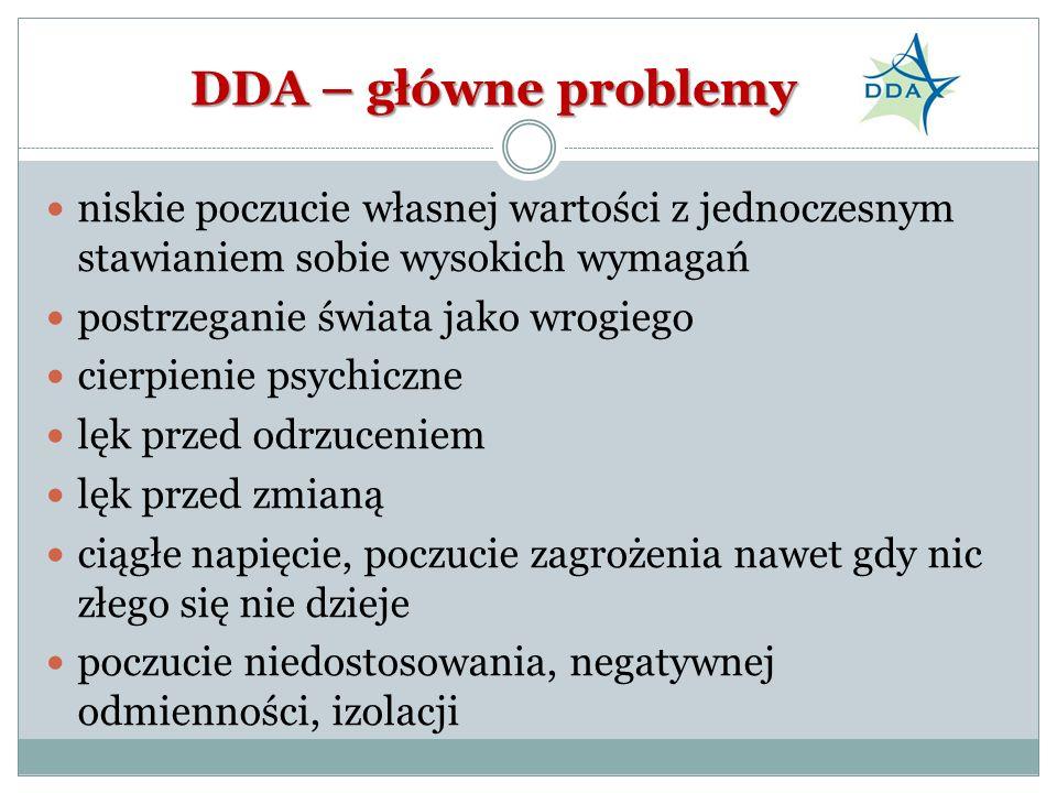 DDA – główne problemy niskie poczucie własnej wartości z jednoczesnym stawianiem sobie wysokich wymagań.