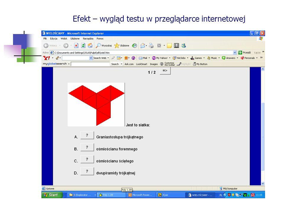 Efekt – wygląd testu w przeglądarce internetowej
