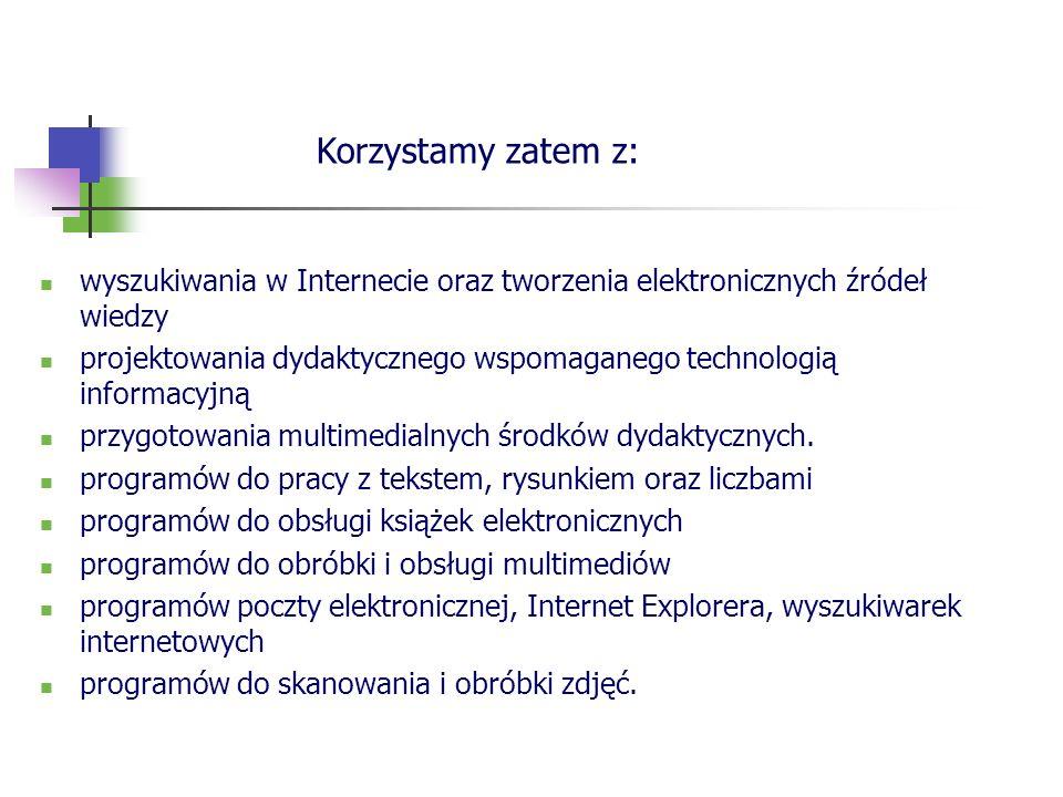 Korzystamy zatem z: wyszukiwania w Internecie oraz tworzenia elektronicznych źródeł wiedzy.