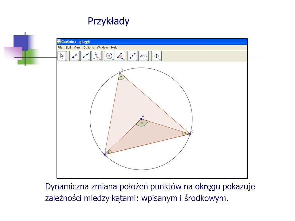 Przykłady Dynamiczna zmiana położeń punktów na okręgu pokazuje