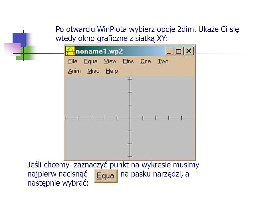 Po otwarciu WinPlota wybierz opcje 2dim