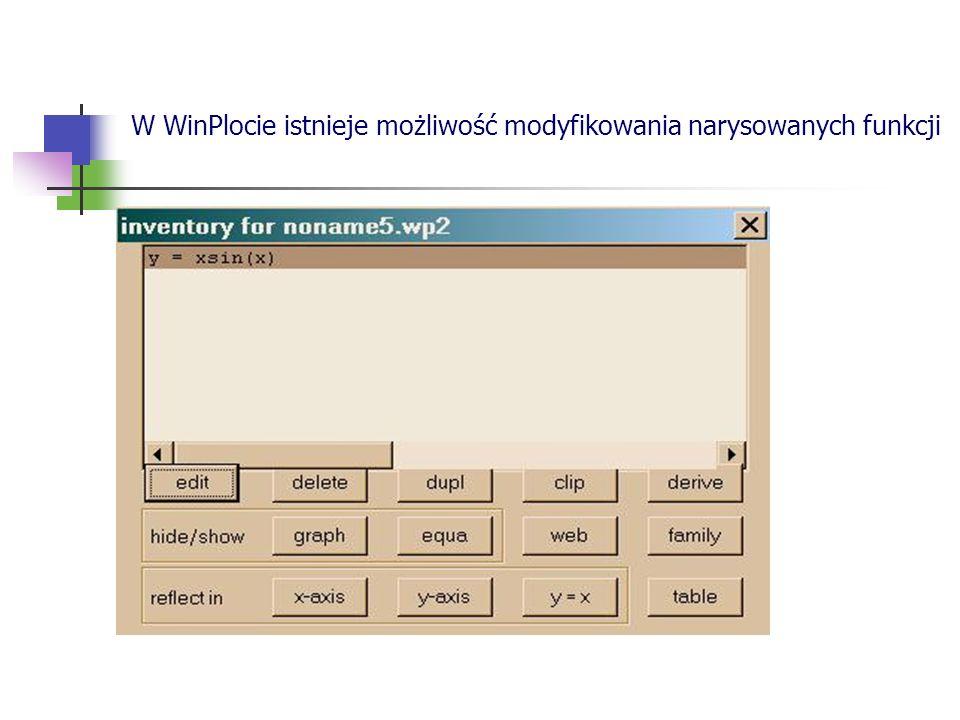 W WinPlocie istnieje możliwość modyfikowania narysowanych funkcji
