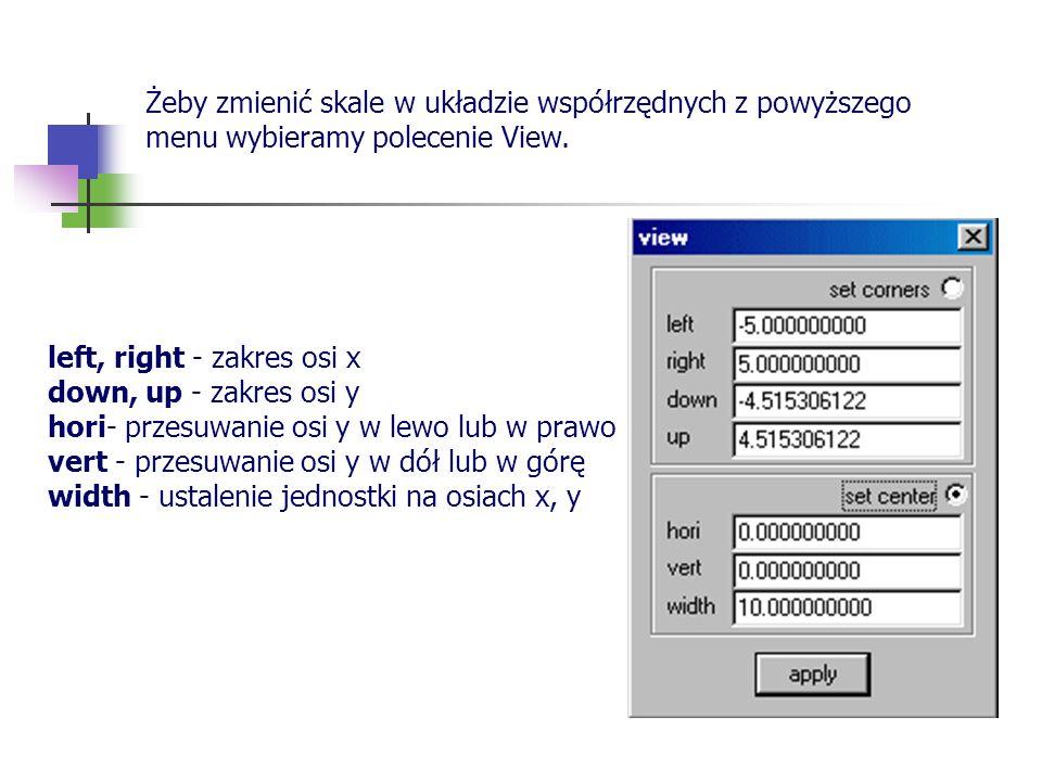 Żeby zmienić skale w układzie współrzędnych z powyższego menu wybieramy polecenie View.