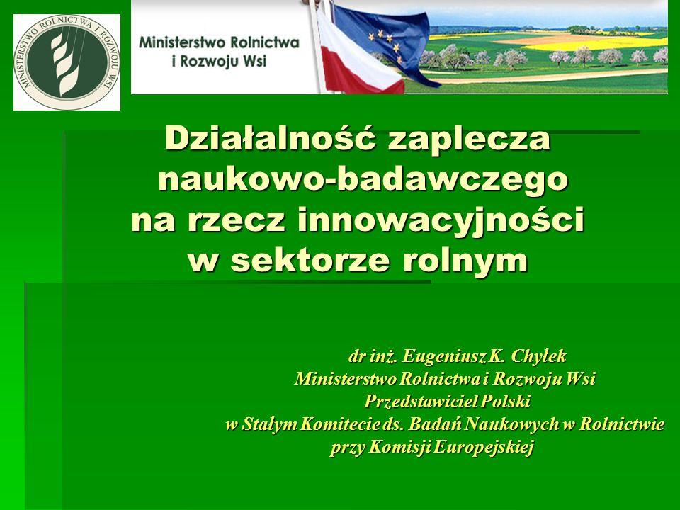 Działalność zaplecza naukowo-badawczego na rzecz innowacyjności w sektorze rolnym dr inż.