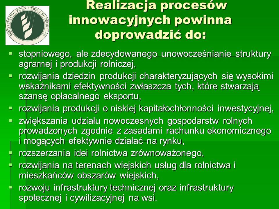 Realizacja procesów innowacyjnych powinna doprowadzić do: