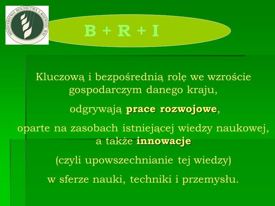 B + R + I Kluczową i bezpośrednią rolę we wzroście gospodarczym danego kraju, odgrywają prace rozwojowe,