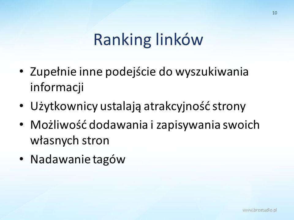 Ranking linków Zupełnie inne podejście do wyszukiwania informacji