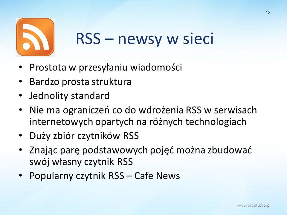 RSS – newsy w sieci Prostota w przesyłaniu wiadomości