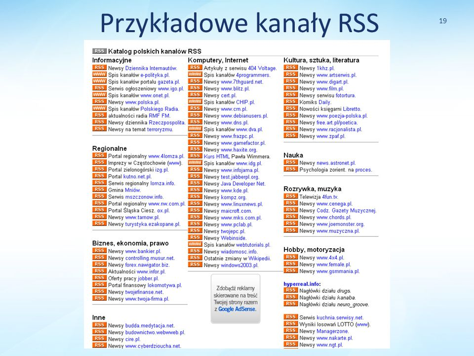 Przykładowe kanały RSS