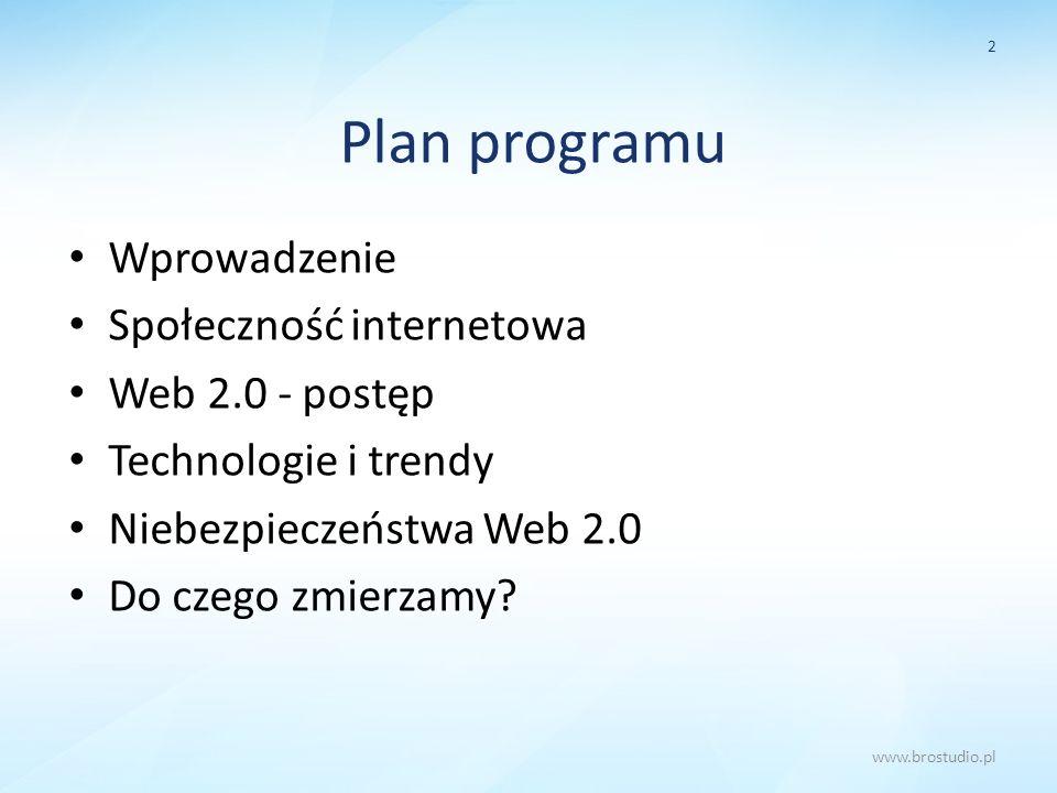 Plan programu Wprowadzenie Społeczność internetowa Web 2.0 - postęp