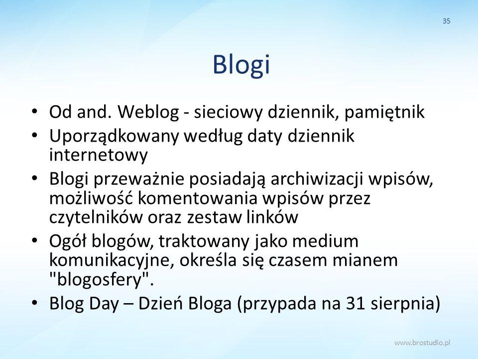 Blogi Od and. Weblog - sieciowy dziennik, pamiętnik