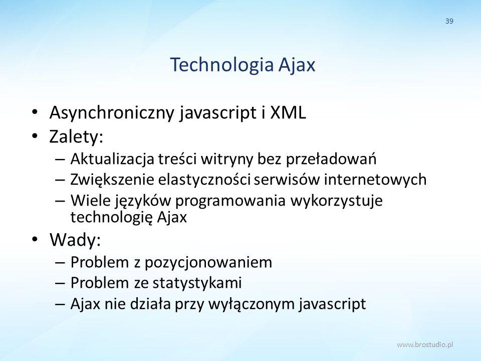 Technologia Ajax Asynchroniczny javascript i XML Zalety: Wady: