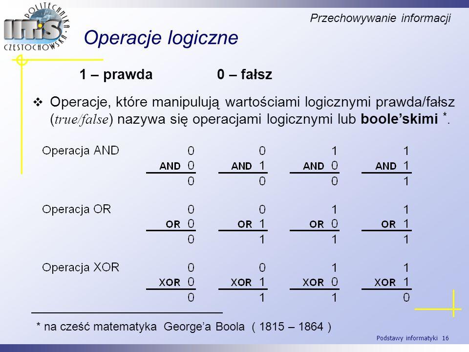 Operacje logiczne 1 – prawda 0 – fałsz