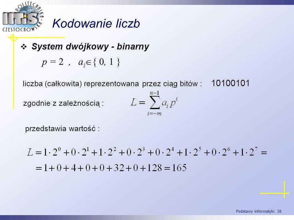Kodowanie liczb p = 2 , ai{ 0, 1 } System dwójkowy - binarny
