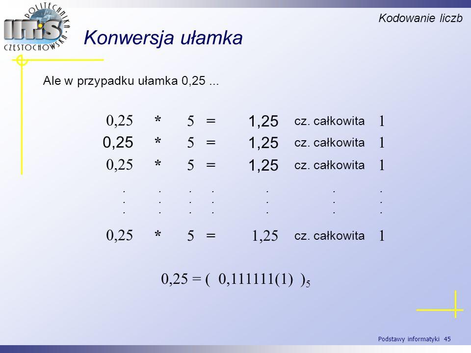 Konwersja ułamka 1 1,25 = 5 * 0,25 0,25 = ( 0,111111(1) )5