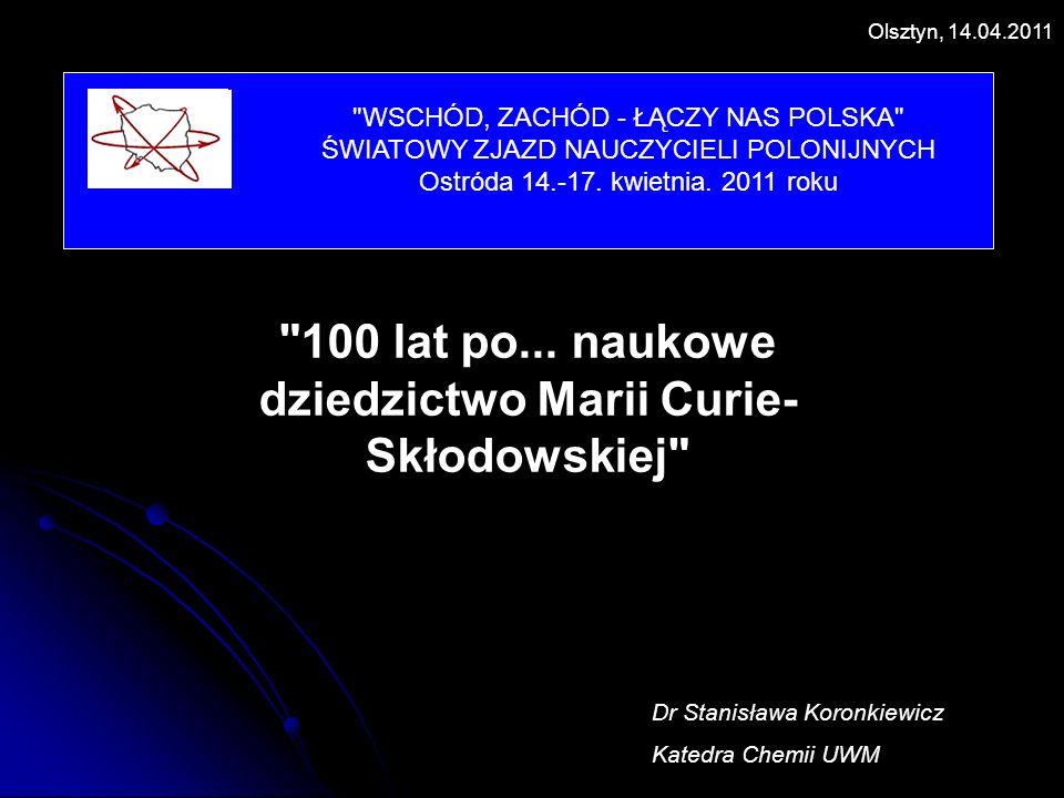 100 lat po... naukowe dziedzictwo Marii Curie-Skłodowskiej