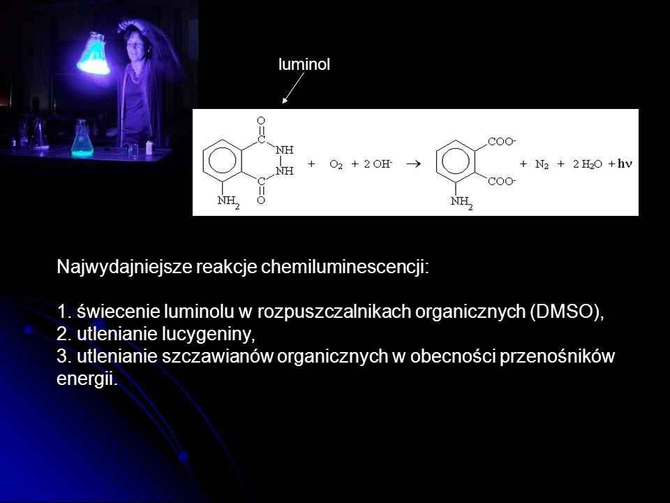 Najwydajniejsze reakcje chemiluminescencji:
