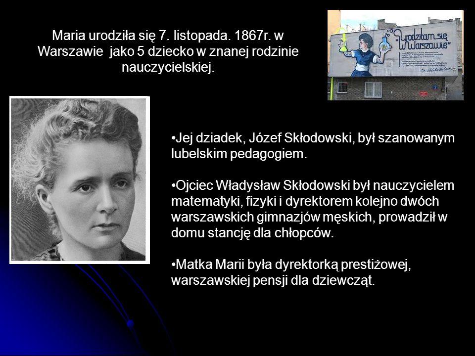 Maria urodziła się 7. listopada. 1867r