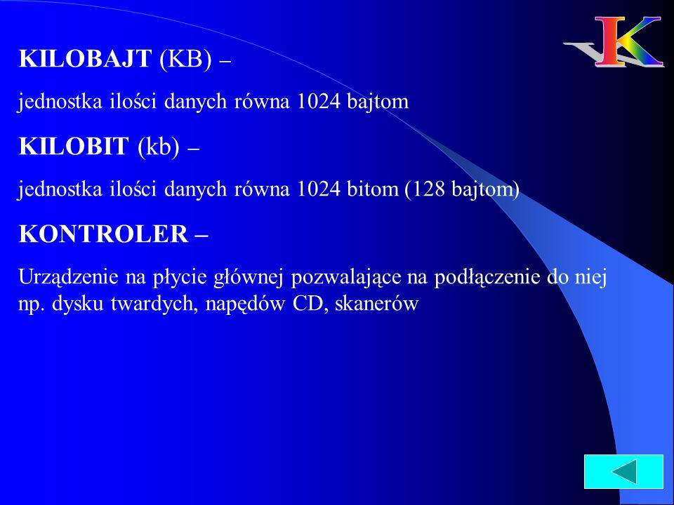 K KILOBAJT (KB) – KILOBIT (kb) – KONTROLER –