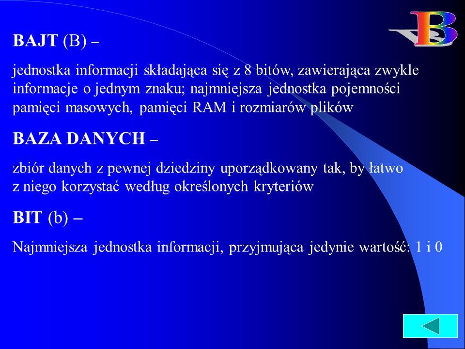 B BAJT (B) – BAZA DANYCH – BIT (b) –