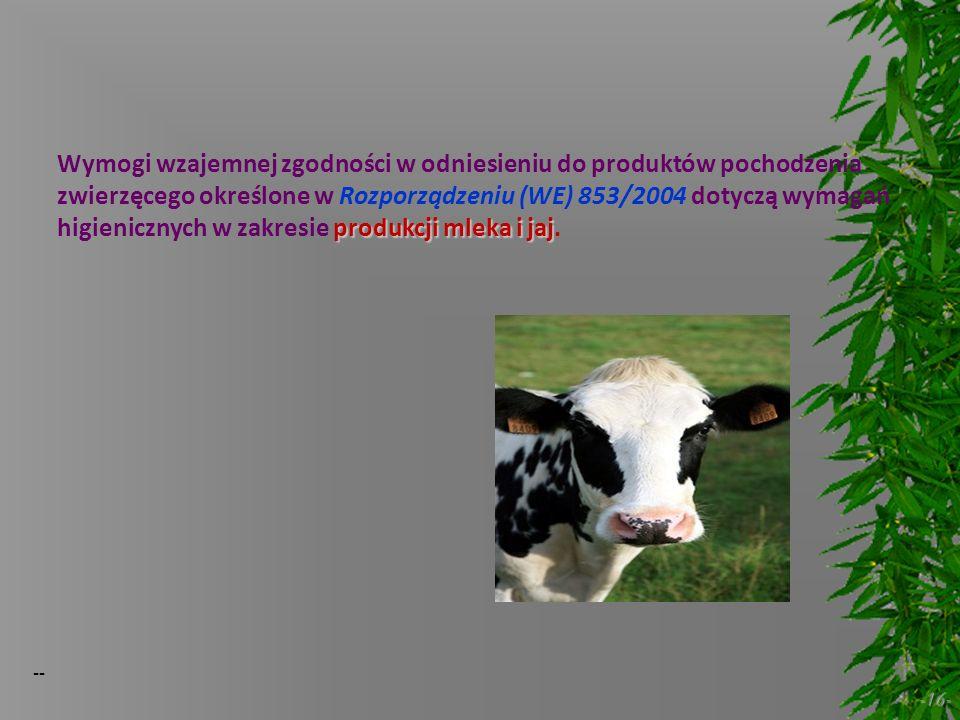 Wymogi wzajemnej zgodności w odniesieniu do produktów pochodzenia zwierzęcego określone w Rozporządzeniu (WE) 853/2004 dotyczą wymagań higienicznych w zakresie produkcji mleka i jaj.