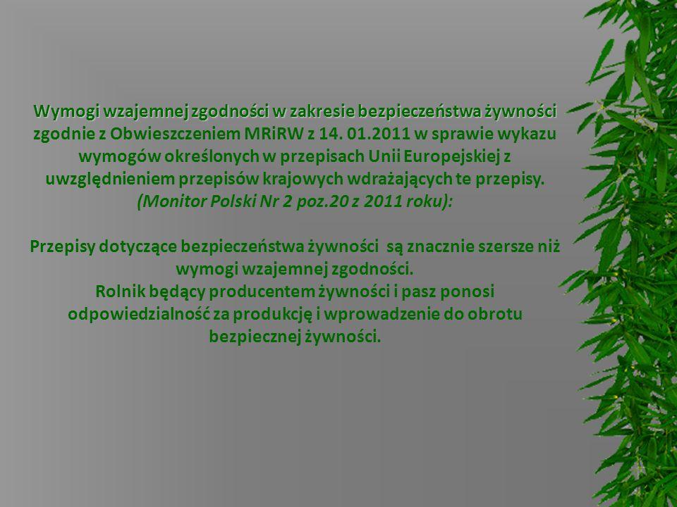 Wymogi wzajemnej zgodności w zakresie bezpieczeństwa żywności zgodnie z Obwieszczeniem MRiRW z 14.