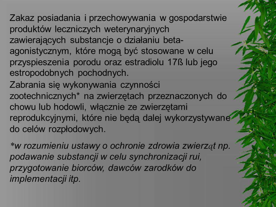 Zakaz posiadania i przechowywania w gospodarstwie produktów leczniczych weterynaryjnych zawierających substancje o działaniu beta-agonistycznym, które mogą być stosowane w celu przyspieszenia porodu oraz estradiolu 17ß lub jego estropodobnych pochodnych.
