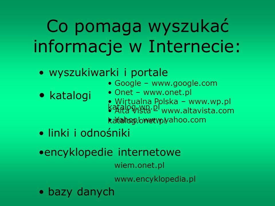 Co pomaga wyszukać informacje w Internecie: