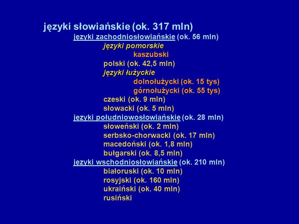 języki słowiańskie (ok. 317 mln)