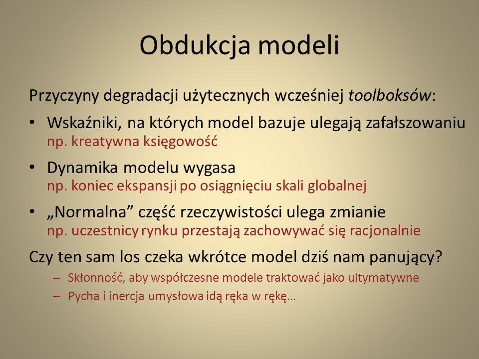 Obdukcja modeli Przyczyny degradacji użytecznych wcześniej toolboksów: