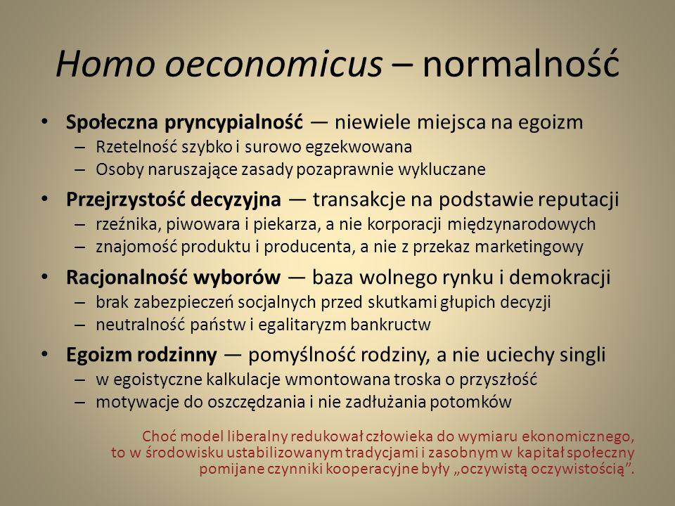 Homo oeconomicus – normalność
