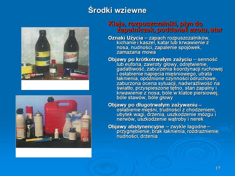 Środki wziewne Kleje, rozpuszczalniki, płyn do zapalniczek, podtlenek azotu, eter.