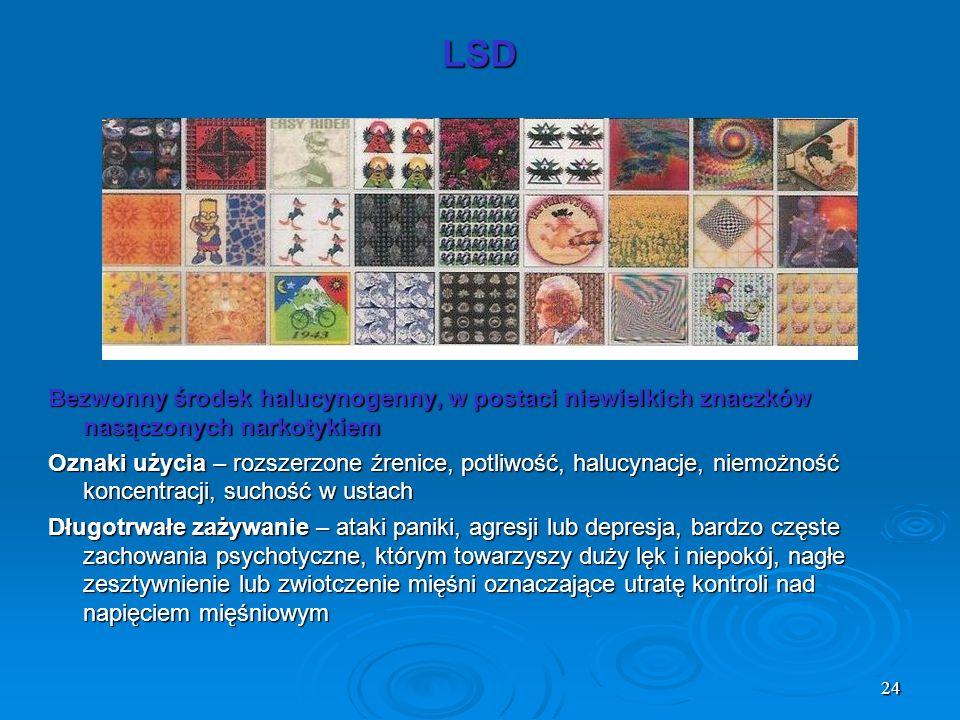 LSD Bezwonny środek halucynogenny, w postaci niewielkich znaczków nasączonych narkotykiem.