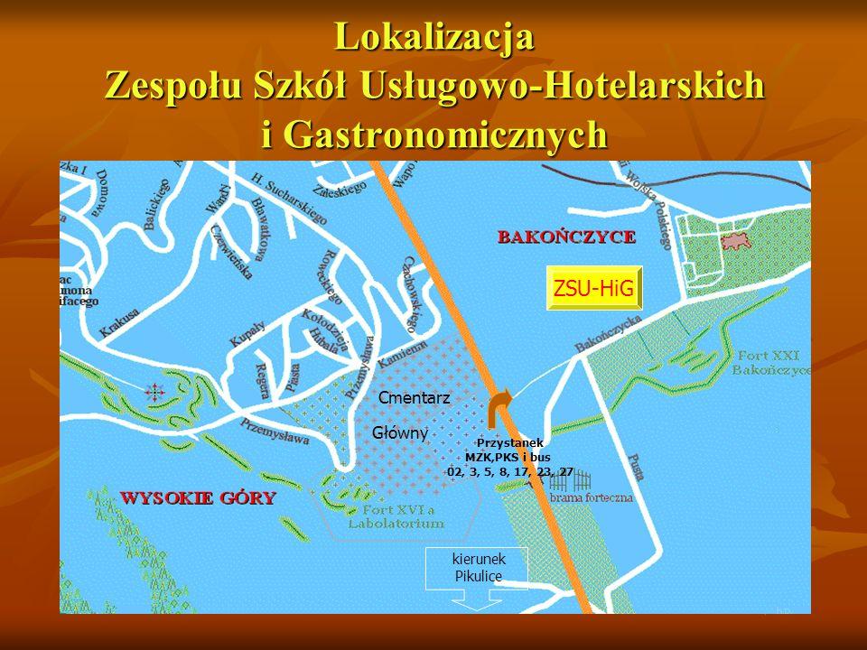 Lokalizacja Zespołu Szkół Usługowo-Hotelarskich i Gastronomicznych