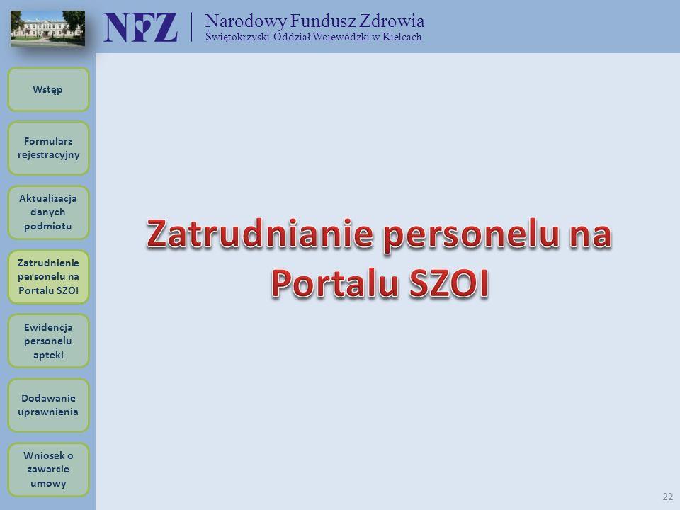 Zatrudnianie personelu na Portalu SZOI
