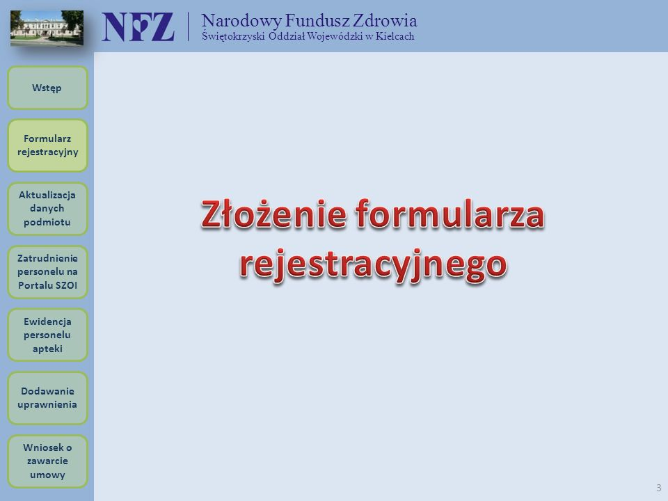 Złożenie formularza rejestracyjnego