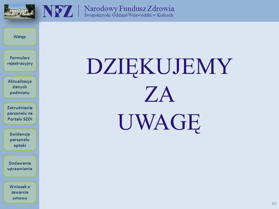 DZIĘKUJEMY ZA UWAGĘ Narodowy Fundusz Zdrowia