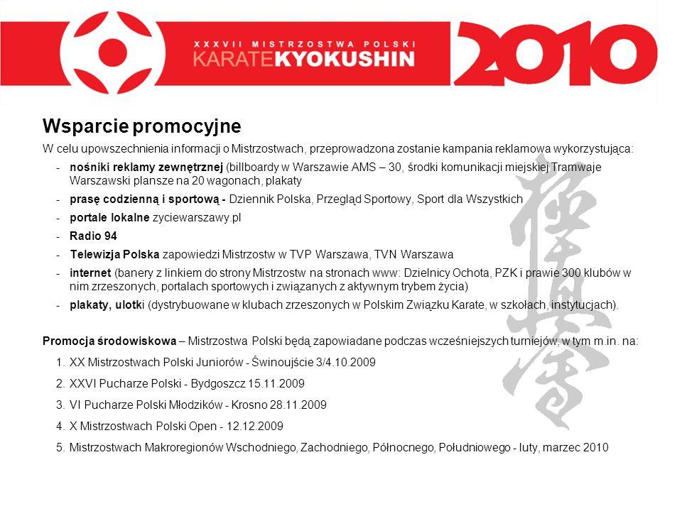 Wsparcie promocyjneW celu upowszechnienia informacji o Mistrzostwach, przeprowadzona zostanie kampania reklamowa wykorzystująca: