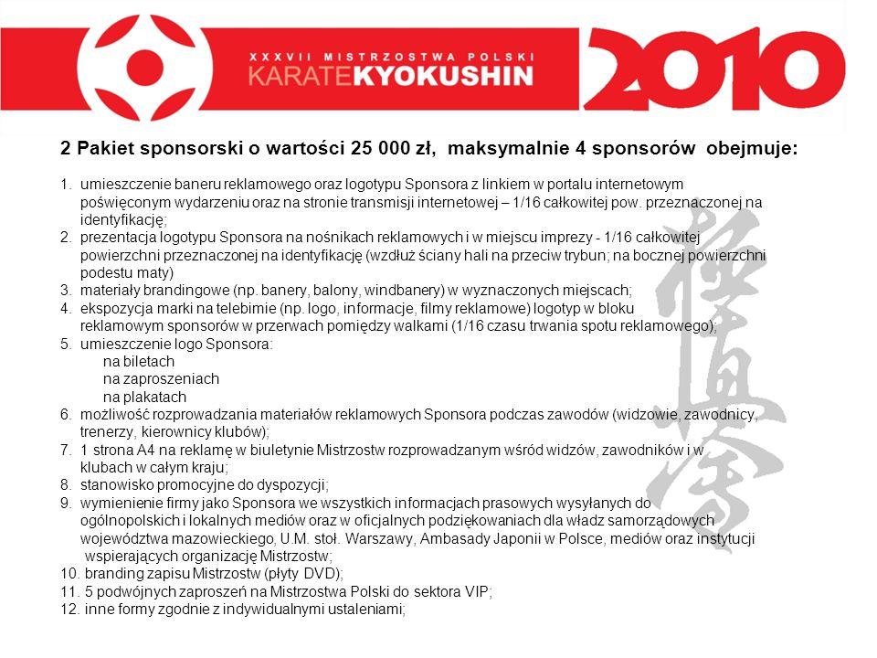 2 Pakiet sponsorski o wartości 25 000 zł, maksymalnie 4 sponsorów obejmuje: