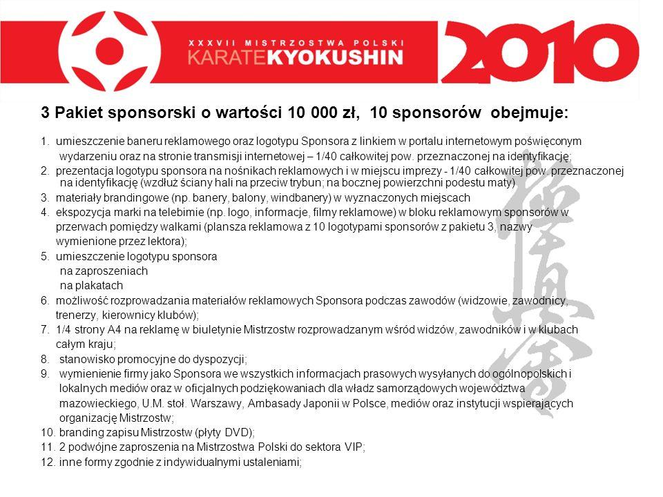 3 Pakiet sponsorski o wartości 10 000 zł, 10 sponsorów obejmuje: