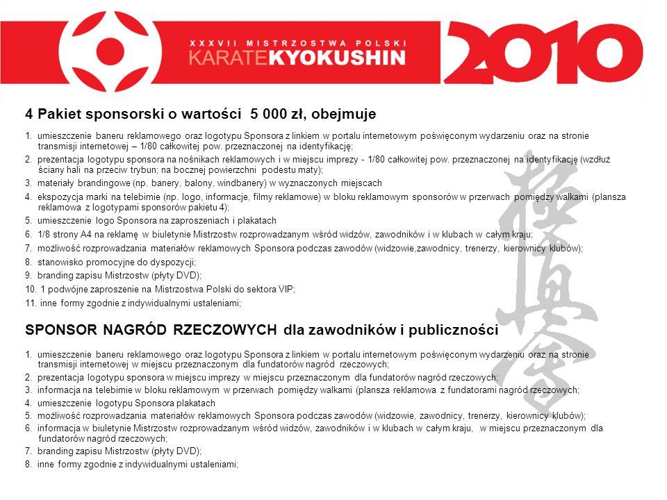 4 Pakiet sponsorski o wartości 5 000 zł, obejmuje