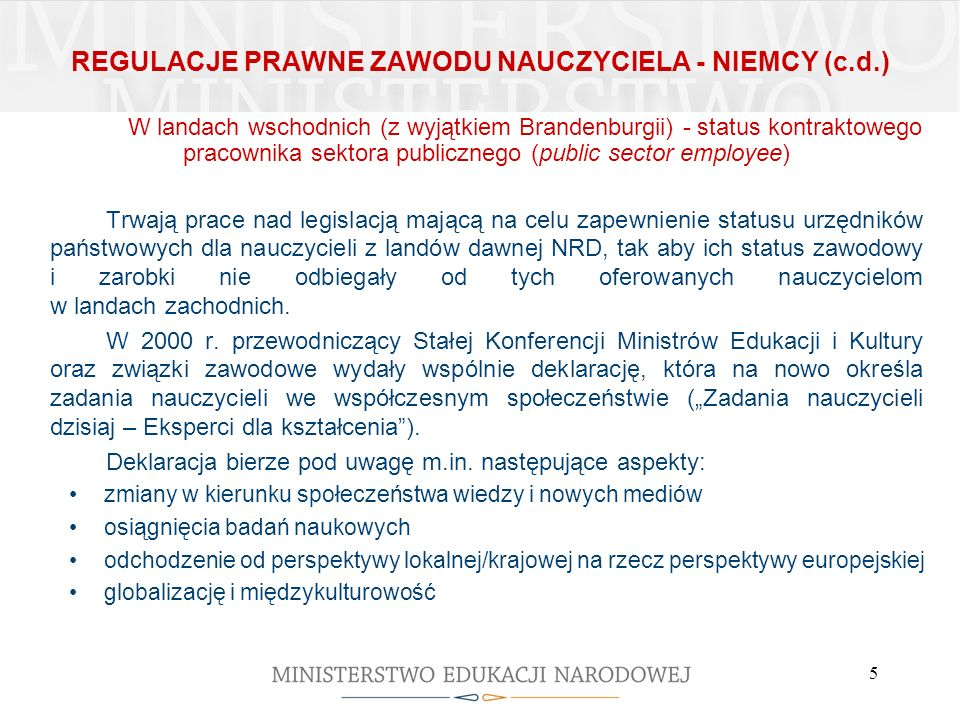 REGULACJE PRAWNE ZAWODU NAUCZYCIELA - NIEMCY (c.d.)