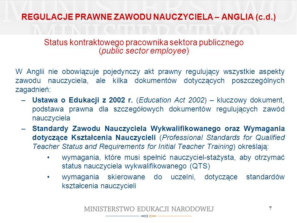 REGULACJE PRAWNE ZAWODU NAUCZYCIELA – ANGLIA (c.d.)