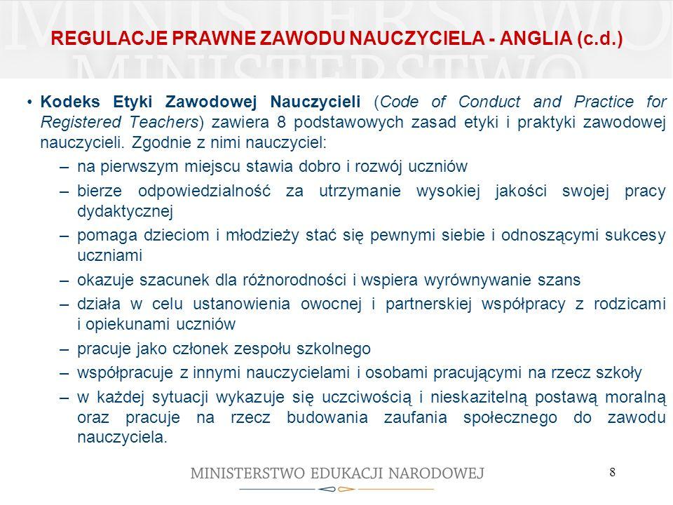 REGULACJE PRAWNE ZAWODU NAUCZYCIELA - ANGLIA (c.d.)
