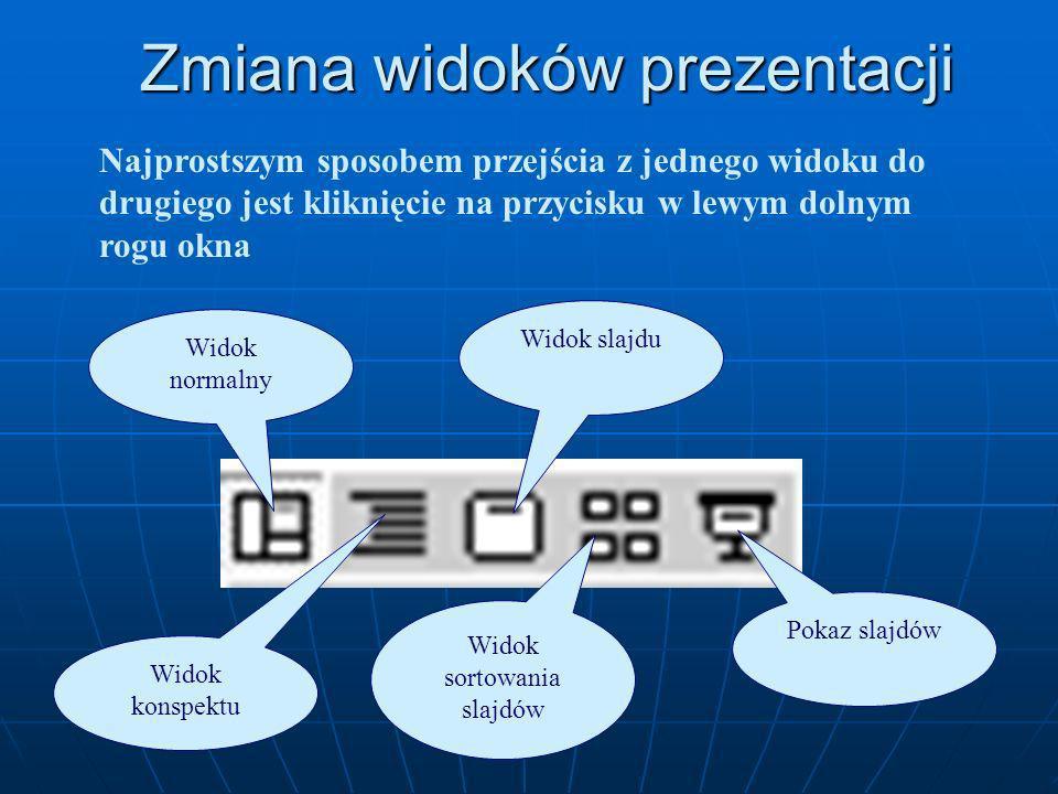 Zmiana widoków prezentacji