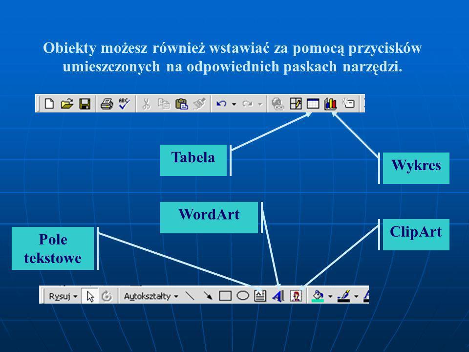 Obiekty możesz również wstawiać za pomocą przycisków umieszczonych na odpowiednich paskach narzędzi.