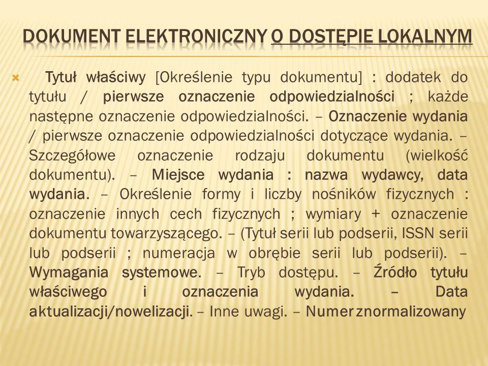 Dokument elektroniczny o dostępie lokalnym