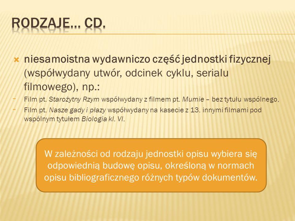 Rodzaje… cd. niesamoistna wydawniczo część jednostki fizycznej (współwydany utwór, odcinek cyklu, serialu filmowego), np.: