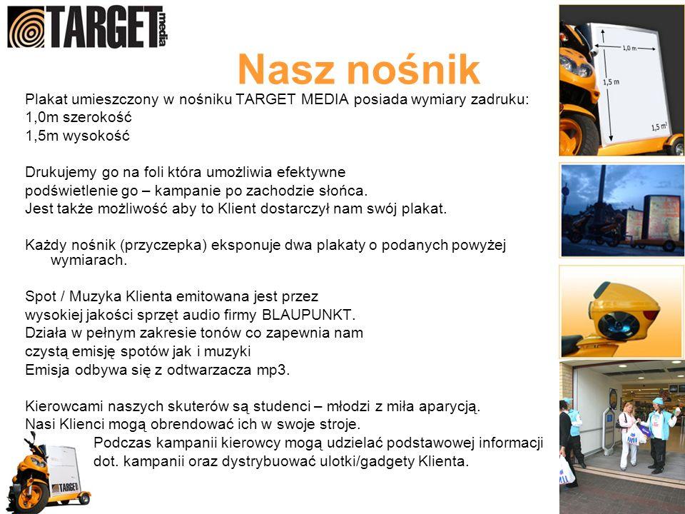 Nasz nośnik Plakat umieszczony w nośniku TARGET MEDIA posiada wymiary zadruku: 1,0m szerokość. 1,5m wysokość.